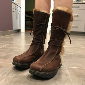 Earth Brown Leather Fur Boots